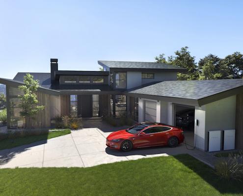 eco friendly house - tesla solar roof